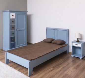 Casa Padrino Landhausstil Massivholz Kinderzimmer Möbel Set Hellblau / Weiß / Mehrfarbig - 1 Einzelbett & 1 Kleiderschrank & 1 Nachttisch - Landhausstil Möbel