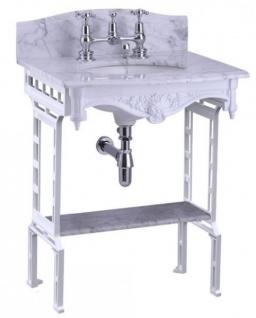 Casa Padrino Luxus Jugendstil Stand Waschtisch Weiß / Weiß mit Marmorplatte mit Spritzschutz hinten und Ablage Barock Waschbecken Barockstil Antik Stil