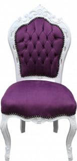 Casa Padrino Barock Esszimmer Stuhl Lila/Weiß - Antik Stil