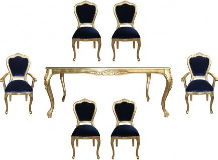 Casa Padrino Luxus Barock Esszimmer Set Royalblau / Gold - 1 Esstisch mit Glasplatte und 6 Stühle - Barock Esszimmermöbel - Made in Italy - Luxury Collection