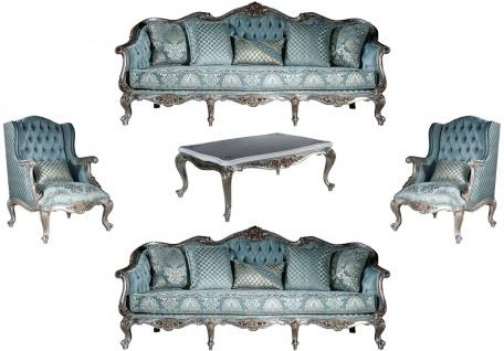 Casa Padrino Luxus Barock Wohnzimmer Set Hellblau / Silber - 2 Sofas & 2 Sessel & 1 Couchtisch - Prunkvolle Wohnzimmer Möbel im Barockstil