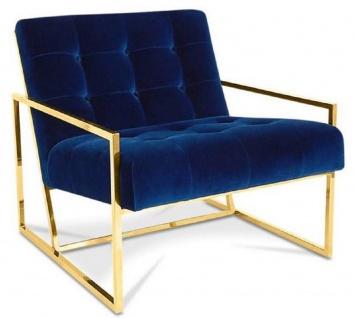 Casa Padrino Luxus Chesterfield Lounge Club Samt Sessel Dunkelblau / Gold 70 x 80 x H. 68 cm - Chesterfield Möbel