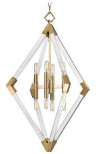 Casa Padrino Luxus Hängeleuchte Antik Messingfarben 59, 7 x 59, 7 x H. 83, 8 cm - Pendelleuchte mit Acryl-Diamantrahmen und Metallakzenten