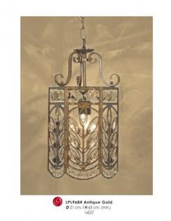 Orientalische Designer Pendelleuchte mit Kristall-Deco Antik Gold ModP4 Leuchte Lampe aus dem Hause Casa Padrino - Deckenleuchte Hängeleuchte Barock