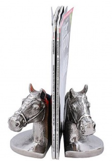 Casa Padrino Luxus Buchstützen Set Pferdeköpfe Silber / Schwarz 17 x 9 x H. 14 cm - Luxus Accessoires