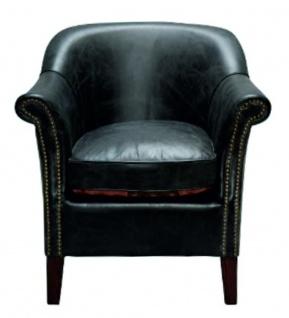 Casa Padrino Luxus Echtleder Sessel Schwarz 75 x 75 x H. 78 cm - Leder Möbel