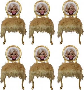 Casa Padrino Luxus Barock Esszimmer Set Marilyn Monroe Bubble Gum Crazy Blond / Mehrfarbig / Gold 50 x 60 x H. 104 cm - 6 handgefertigte Esszimmerstühle mit Kunstfell und Bling Bling Glitzersteinen