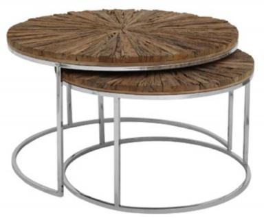 Casa Padrino Luxus Beistelltisch Set Naturfarben / Silber - Luxus Wohnzimmermöbel