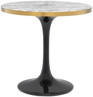Casa Padrino Luxus Beistelltisch Grau / Messing / Schwarz Ø 55 x H. 52, 5 cm - Luxus Möbel
