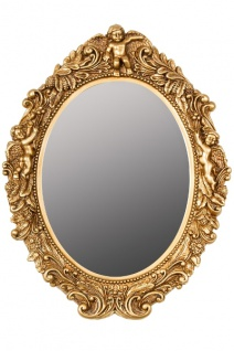Casa Padrino Barock Wandspiegel Oval Gold Höhe 53 cm, Breite 40 cm - Edel & Prunkvoll - Vintagelook - Handgefertigt