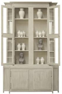 Casa Padrino Luxus Landhausstil Vitrine Grau 180 x 45 x H. 270 cm - Handgefertigter Vitrinenschrank - Massivholz Küchenschrank - Landhausstil Möbel