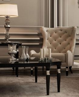 Casa Padrino Luxus Art Deco Chesterfield Ohrensessel Grau / Schwarz / Silber 90 x 75 x H. 105 cm - Wohnzimmer Sessel - Luxus Qualität