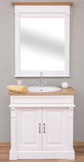 Casa Padrino Landhausstil Badezimmer Set Weiß / Naturfarben - 1 Waschtisch & 1 Wandspiegel - Massivholz Badezimmer Möbel im Landhausstil - Vorschau 2