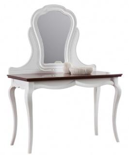 Casa Padrino Luxus Art Deco Schminktisch Weiß / Dunkelbraun 118 x 56, 2 x H. 157, 5 cm - Edle Schminkkonsole - Vorschau