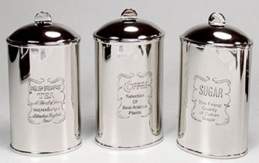Casa Padrino Luxus Messing Tee Kaffee Zucker Dosen Set Silber 9 x 6 x H. 15 cm - Luxus Qualität