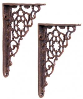 Casa Padrino Jugendstil Gusseisen Wandhalter Set Braun H. 16, 5 cm - Wanddeko - Deko Accessoires