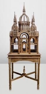 Casa Padrino Barock Vogelpalast handgeschnitzt aus Mahagoniholz H190cm - Vogelhaus Vogelkäfig Antik Stil