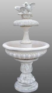 Casa Padrino Jugendstil Springbrunnen mit dekorativen Tauben Weiß Ø 96 x H. 175 cm - Barock & Jugendstil Gartenbrunnen