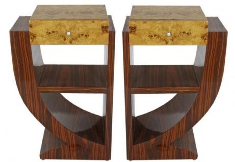 Casa Padrino Art Deco Beistelltisch Set Braun / Hellbraun 50 x 40 x H. 75 cm - Mahagoni & Wurzelholz Beistelltische mit Schublade - Nachttische - Luxus Qualität