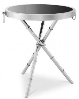 Casa Padrino Luxus Beistelltisch Silber / Schwarz Ø 55 x H. 44 cm - Runder Metall Tisch mit Glasplatte - Wohnzimmermöbel