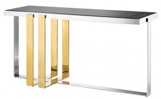 Casa Padrino Designer Edelstahl Konsole mit Rauchglas - Luxus Konsolentisch