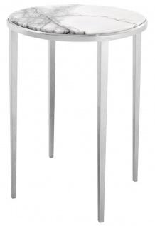 Casa Padrino Luxus Beistelltisch in silber mit weißer Marmorplatte Ø 37, 5 x H. 58 cm - Wohnzimmermöbel