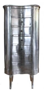 Casa Padrino Barock Kommode Silber mit 7 Schubladen Oval - Antik Stil - Barock Möbel