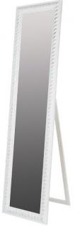 Casa Padrino Barock Standspiegel Weiss mit wunderschönem antik-weißem Kordelrahmen H. 180 cm - Handgefertigt