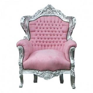 "Casa Padrino Barock Sessel "" King"" Rosa/Silber"