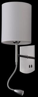 Casa Padrino Wandleuchte Silber / Creme 16 x 16 x H. 35 cm - Wandlampe mit flexiblem Leselicht - Vorschau 5