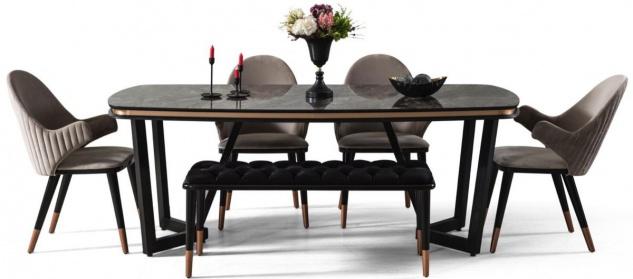 Casa Padrino Luxus Esszimmer Set Grau / Schwarz / Kupferfarben - 1 Esszimmertisch & 4 Esszimmerstühle & 1 Sitzbank - Luxus Esszimmer Möbel