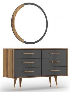 Casa Padrino Luxus Schlafzimmer Set Braun / Grau / Messingfarben - 1 Kommode mit 6 Schubladen & 1 Wandspiegel - Schlafzimmer Schrank mit Spiegel - Schlafzimmer Möbel - Luxus Kollektion