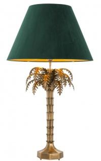 Casa Padrino Luxus Tischleuchte Vintage Messingfarben / Grün Ø 65, 5 x H. 114, 5 cm - Wohnzimmerlampe im Palmen Design
