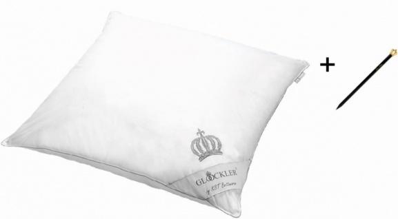 Harald Glööckler Designer Platin Kopfkissen 80 x 80 cm Weiß / Platin + Casa Padrino Luxus Barock Bleistift mit Kronendesign