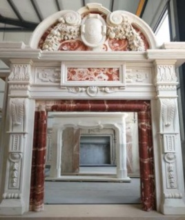 Casa Padrino Luxus Barock Kaminumrandung Weiß / Rot 208 x 38 x H. 243 cm - Prunkvolle Kaminumrandung aus hochwertigem Marmor - Marmor Möbel im Barockstil