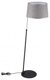 Casa Padrino Stehleuchte in schwarz / silber mit rauchig grauem Lampenschirm Ø 42 x H. 140-170 cm - Stilsichere Leuchte mit Metallrahmen und verstellbarer Halterung