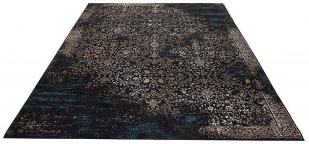 Casa Padrino Wohnzimmer Teppich Vintage Blau / Mehrfarbig 160 x 240 cm - Rechteckiger Baumwoll Teppich - Wohnzimmer Deko Accessoires