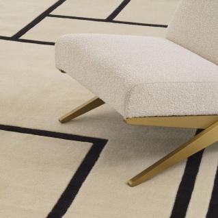Casa Padrino Luxus Teppich Cremefarben / Schwarz 300 x 400 cm - Handgetufteter Wohnzimmer Teppich aus 100% Neuseeland Wolle - Luxus Qualität