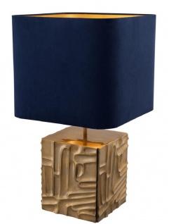 Casa Padrino Luxus Tischleuchte Vintage Messingfarben / Blau 35 x 35 x H. 62 cm - Designer Lampe - Vorschau 2