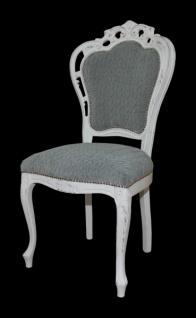 Casa Padrino Barock Esszimmer Stuhl ohne Armlehnen Grau / Antik Weiß - Designer Stuhl - Luxus Qualität - Vorschau 3