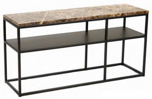 Casa Padrino Luxus Konsole Braun / Schwarz 100 x 30 x H. 50 cm - Moderner Metall Konsolentisch mit Marmorplatte - Wohnzimmer Möbel - Büro Möbel