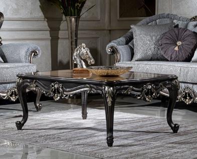 Casa Padrino Luxus Barock Couchtisch Beige / Dunkelgrau / Gold - Handgefertigter Massivholz Wohnzimmertisch - Wohnzimmer Möbel im Barockstil