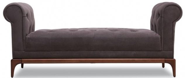 Casa Padrino Luxus Chesterfield Sitzbank Lila / Braun 175 x 58 x H. 67 cm - Moderne gepolsterte Massivholz Bank mit edlem Samtstoff - Luxus Qualität - Vorschau 2