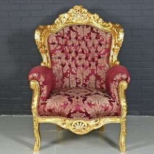 "Casa Padrino Barock Sessel "" King"" Bordeaux Rot Muster / Gold - Antik Stil Möbel"