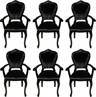 Casa Padrino Luxus Barock Esszimmer Set Schwarz / Schwarz 60 x 47 x H. 99 cm - 6 handgefertigte Esszimmerstühle mit Armlehnen - Barock Esszimmermöbel