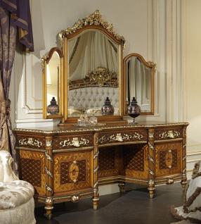 Casa Padrino Luxus Barock Kommode mit Spiegel Braun / Gold - Prunkvoller handgefertigter Schminktisch mit Wandspiegel - Hotel Möbel - Schloss Möbel - Luxus Qualität - Made in Italy