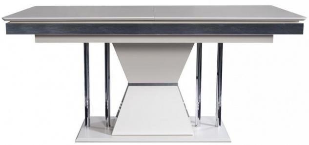 Casa Padrino Luxus Art Deco Esstisch Weiß / Grau / Silber 164 x 92 x H. 77 cm - Esszimmertisch - Küchentisch - Edle Art Deco Esszimmer Möbel