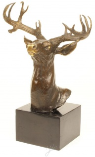 Casa Padrino Luxus Hirschkopf Bronzefigur Bronze / Gold / Grau H. 50 cm - Elegante Dekofigur mit Marmorsockel