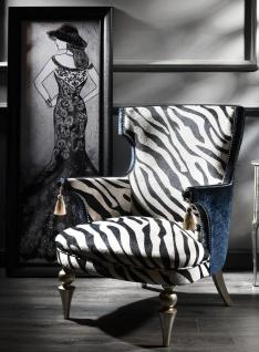 Casa Padrino Luxus Barock Zebra Sessel Schwarz / Weiß / Blau / Silber 74 x 72 x H. 102 cm - Wohnzimmer Sessel im Barockstil