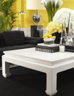 Casa Padrino Luxus Art Deco Designer Mahagoni Couchtisch Weiß - Wohnzimmer  Salon Tisch - Luxus Kollektion